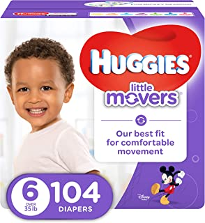 HUGGIES LITTLE MOVERS Active Baby Diapers, Size 6 (fits 35+ lb.), 104 Ct, ECONOMY PLUS (Packaging May Vary)