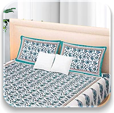 Aayesha Cotton 144 TC 100% Cotton Double Bed bedsheet with 2 Pillow Covers - Turquoise