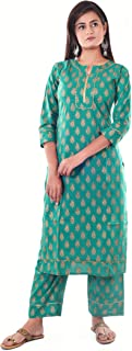 KALAGRAM Women Cotton Turquoise (Green) Straight Kurta Palazzo Set