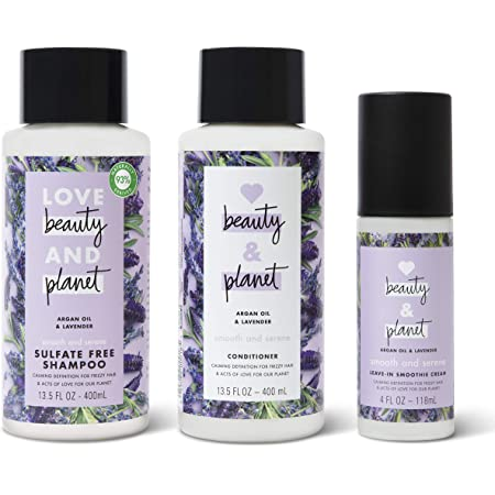 Love Beauty & Planet Shampoo, Conditioner and Leave In Cream Argan Oil and Lavender 3 Count