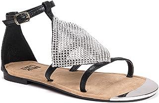 Muk Luks Women's Linzie Sandals, Black, 7 M US