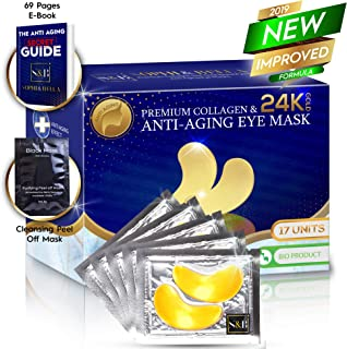 Sophi & Bella Under Eye Patches - 24K Gold Eye Masks for Dark Circles Undereye Gel Patches Anti-Aging 17 Pairs