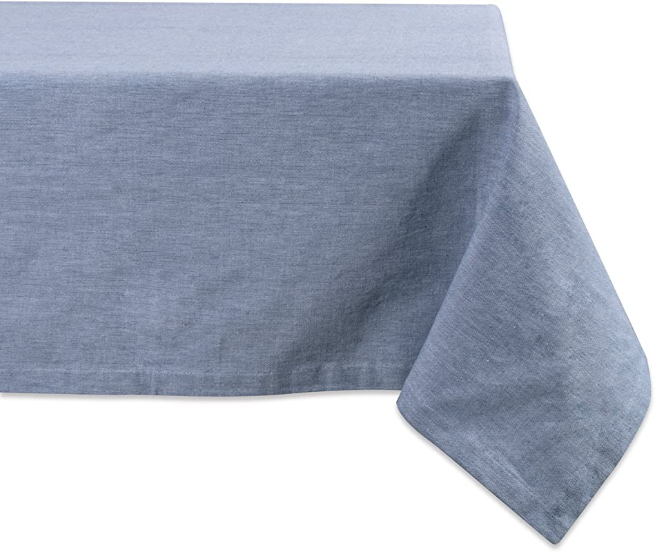 DII CAMZ36968 100 Cotton Machine Washable Everyday Kitchen Tablecloth For Dinner Parties Summer Outdoor Picnics 60x120 Seats 10 To 12 People 60x120 Chambray Blue