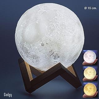 Gadgy ® Lámpara Luna 3D (15 CM) l Regulable y 3 colores l USB recargable l Simple operación de botón de touch
