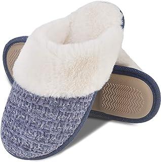 DL Pantuflas de punto cómodas para mujer con forro de piel sintética de felpa cálida, zapatillas de espuma viscoelástica c...
