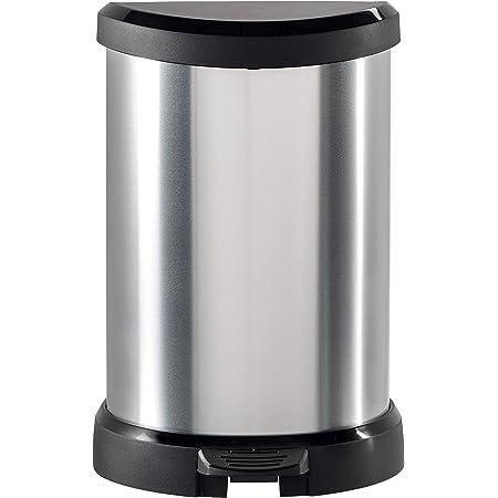 CURVER | Poubelle à pédale 20L Aspect métal, Métal, Metal Bins, 30,3x26,8x44,8 cm