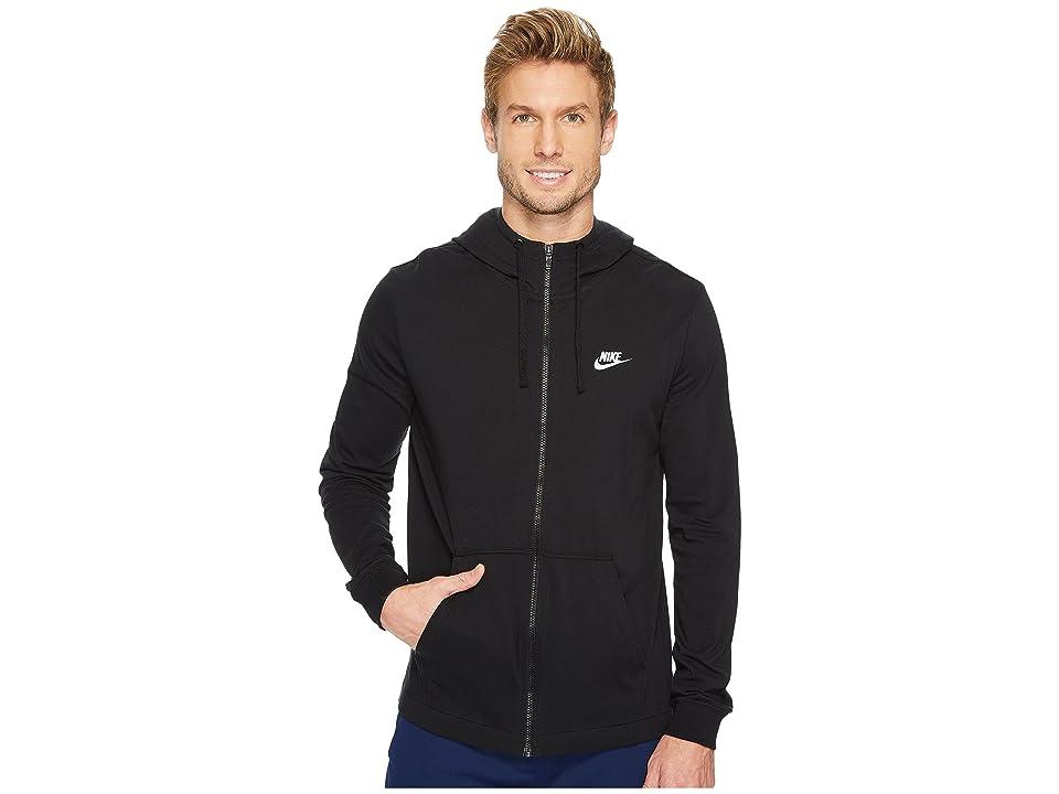 Nike Sportswear Full-Zip Hoodie (Black/White) Men