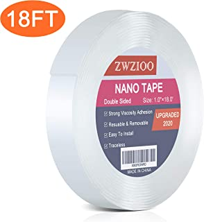 Nano Double Sided Tape, Gel Grip Tape Removable Transparent Sticky Tape, 1-inch×18 Feet, Reusable Traceless Mounting Adhesive Tape Heavy Duty for Carpet Fixed Festival Home Office Car Wall Decor