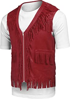 COOFANDY Mens Fringe Vest Hippie Costume Casual Western V Neck Zipper Suede Leather Waistcoat