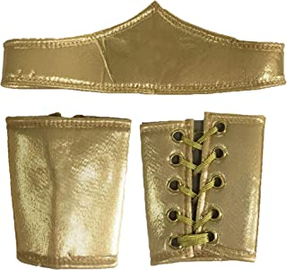 Women's Gold Superhero or Cleopatra Costume Cuffs and Headband Set