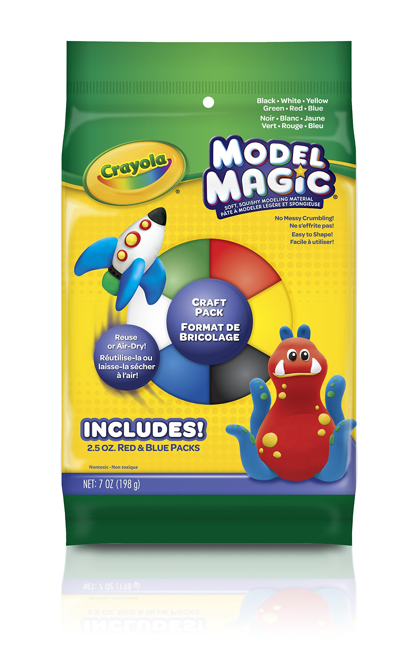 Soft Crayola Model Magic Lightweight Modeling Material For Kids 4 /& Up 4 Count Bucket Air Dries Smooth Easy to Paint and Decorate 8 Ounce Packs Primary Colors Red//Yellow//Blue//White No-Mess