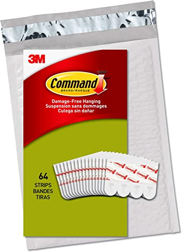 Command Poster Hanging Strips, Small, White, Indoor Use, 64-Strips, Decorate Damage-Free