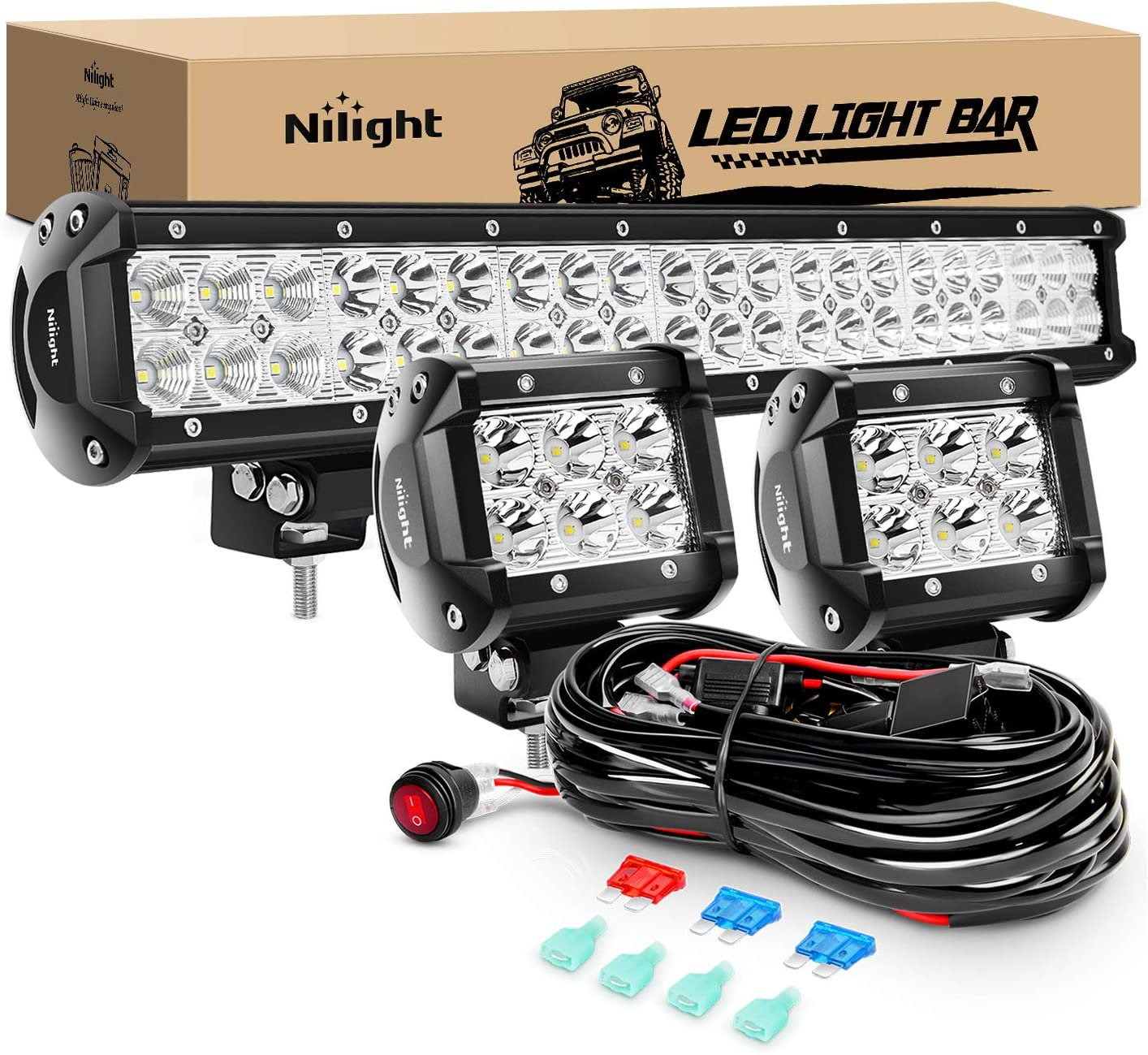Nilight - ZH002 20Inch 126W Spot Flood Combo Led Off Road Led Light Bar 2PCS 18w 4Inch Spot LED Pods With 16AWG Wiring Harness Kit-3 Lead, 2 Years Warranty