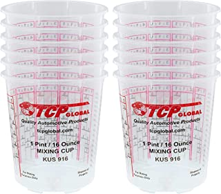 Best Custom Shop Pack of 12 Each - 16 Ounce Paint Mixing Cups = 1 Pint Cups Have calibrated Mixing ratios on Side of Cup Pack of 12 Paint and Epoxy Mixing Cups Review