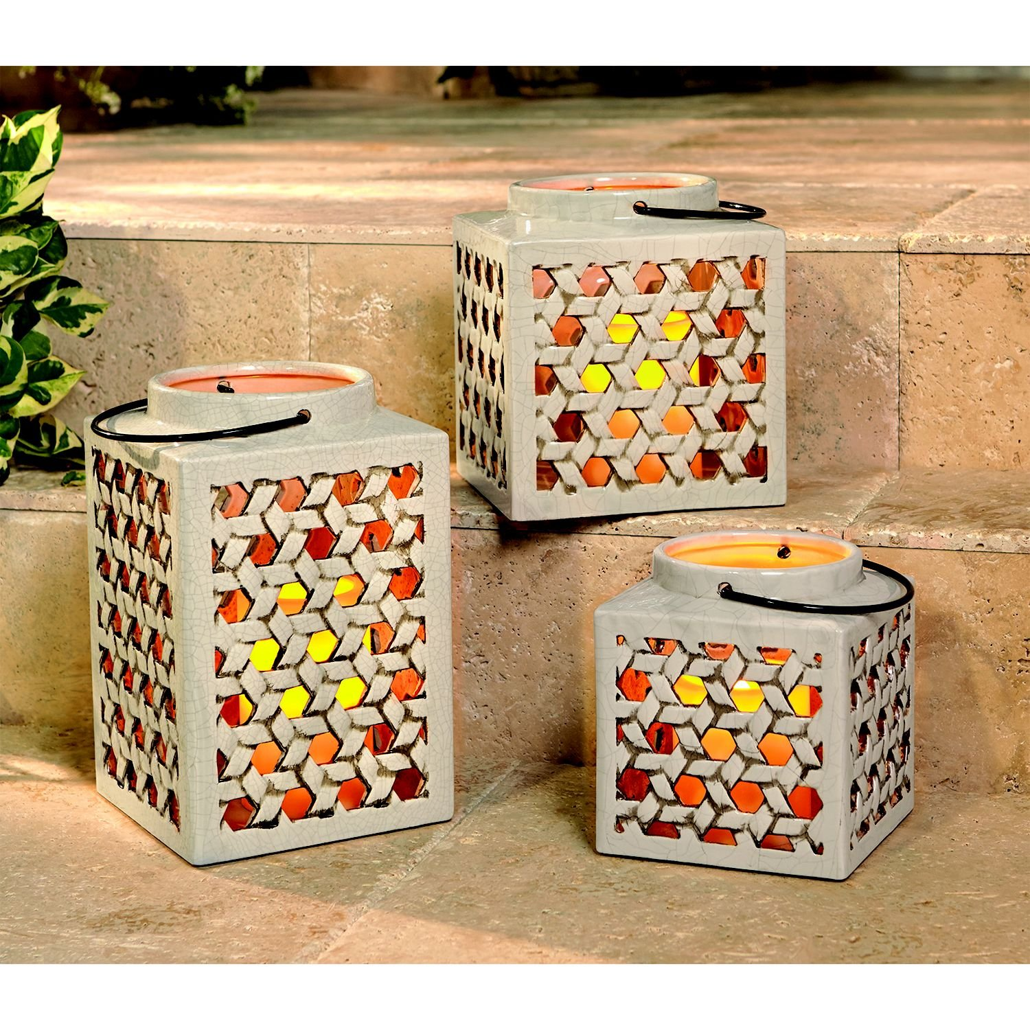 Amazon Com Member S Mark 3 Piece Stoneware Lantern Set With Flameless Candles Cream Garden Outdoor