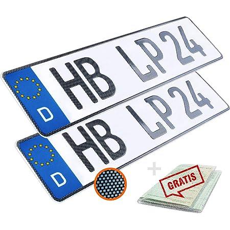 L /& P Car Design KFZ Kennzeichen 1 St/ück 52cm x 11cm in Carbon Optik Nummernschild 520mm x 110mm Wunschkennzeichen DIN Autokennzeichen Fahrradtr/äger Anh/änger LKW Wunschpr/ägung amtliches Autoschild