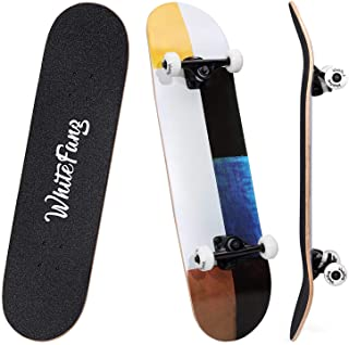 "WhiteFang Skateboards 31"" Complete Skateboard Double Kick Skate Board 7 Layer Canadian Maple Deck Skateboard for Kids and Beginners"