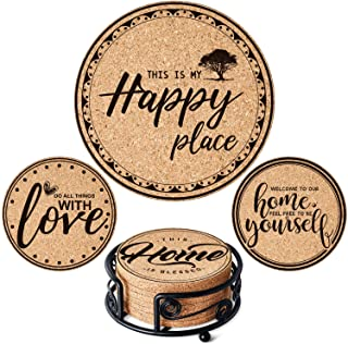 GALAROES Natural Cork Coasters with Metal Holder set of 8 Thick Absorbent Coaster for Drink, Cups, Mugs Present for Friend...