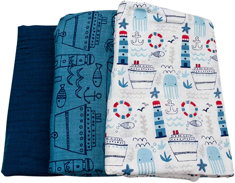 Baby Boy Blue Swaddle Blankets 3 Pack