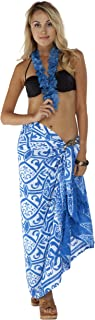 1 World Sarongs Womens Abstract Tribal Swimsuit Cover-Up Sarong in Light Blue