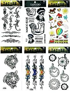 NipitShop Tattoos 6 Pcs Tiger Skull Clock Butterfly Flower Vine Flower Balloon Tattoo Stickers 3D Waterproof Body Art Arm Hand Temporary Tatoo