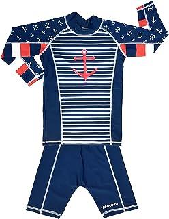 TEEPEETO Kids Anchor UV50+ Rash Guard Long Sleeve Top and Pants