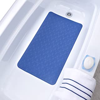 SlipX Solutions Mildew Resistant Large Blue Rubber Bath Safety Mat Features Powerful Microban® Antimicrobial Product Protection (15