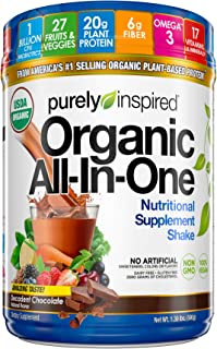 Purely Inspired All-in-One Nutritional Supplement Shake Powder, Vegan, 20g Protein with Fiber, Vitamins, Minerals & Probiotics, Decadent Chocolate, 15 Servings (1.3lbs)