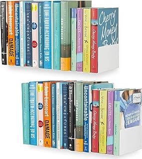 Wallniture U Shape Floating Metal Bookshelf White Set of 2