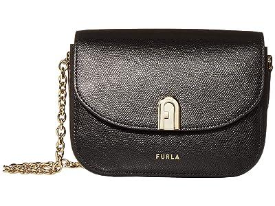Furla 1927 Mini Crossbody 17 w/ Chain (Nero) Handbags
