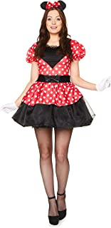 Miss Mouse Costume Set - Halloween Womens Red White Polka Dot Dress