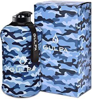 GULPA™ 2.2L Large Sports Water Bottle With Carrying Strap Leak Proof Wide Mouth Lid Dishwasher Safe Lightweight Food Grade...
