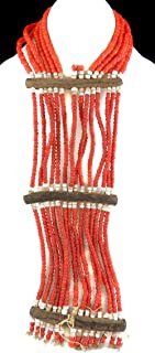 14 Strands Maasai Beaded Necklace Red Kenya Old 29 Inch Africa