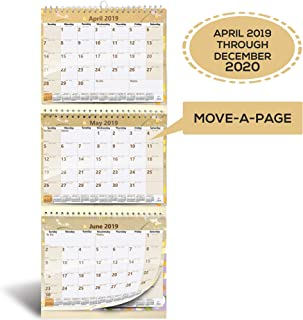 $22 Get 3-Month Wall Calendar 2019-2020 by StriveZen, Move-a-Page, 11 x 25 Inches, 57 Sheets, Large, Vertical, Wire Bound, April 2019 - December 2020, Folds Like a Notebook, Big Numbers, Large Daily Blocks