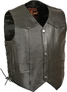 Milwaukee Leather SH2011L-BLK-2XS Kids' Vest with Side Laces (Black,  XX-Small)