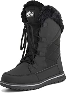 Polar Products Womens Quilted Duck Cuff Snow Lace Up Waterproof Faux Fur Outdoor Boots - 9 - BLK40 AYC0540