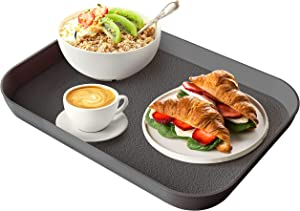 Mueller Reversible Serving Tray, European Made Platter, 2in1, Rectangular Non-Slip Tray, Shatter-Proof, Non-Toxic, for Coffee Table, Kitchen, Outdoors, Dishwasher Safe, Gray
