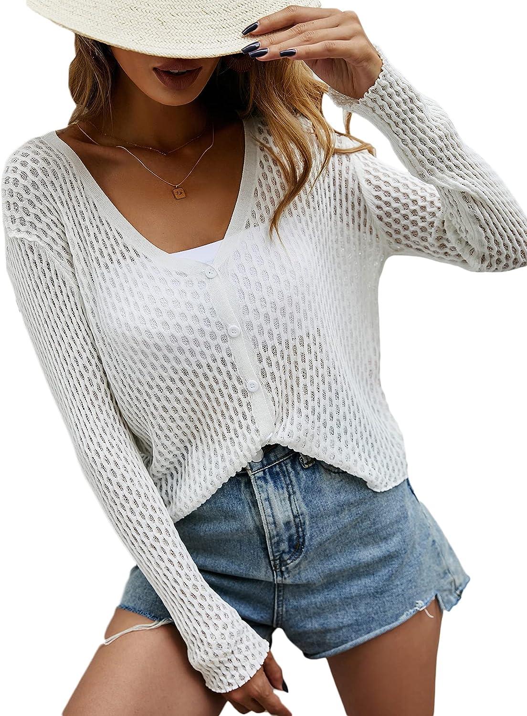 MakeMeChic Women's Long Sleeve Deep V Neck Knitted Sheer Top Cardigan Sweater