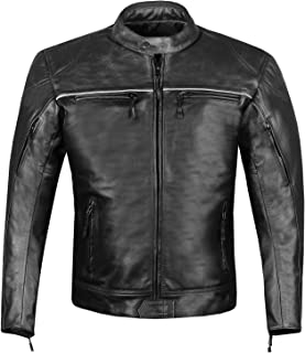 RETRO Mens Premium Leather Motorcycle Cafe Style Street Cruiser Biker Jacket S