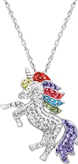 Unicorn Pendant Necklace with Swarovski Crystals in Sterling Silver