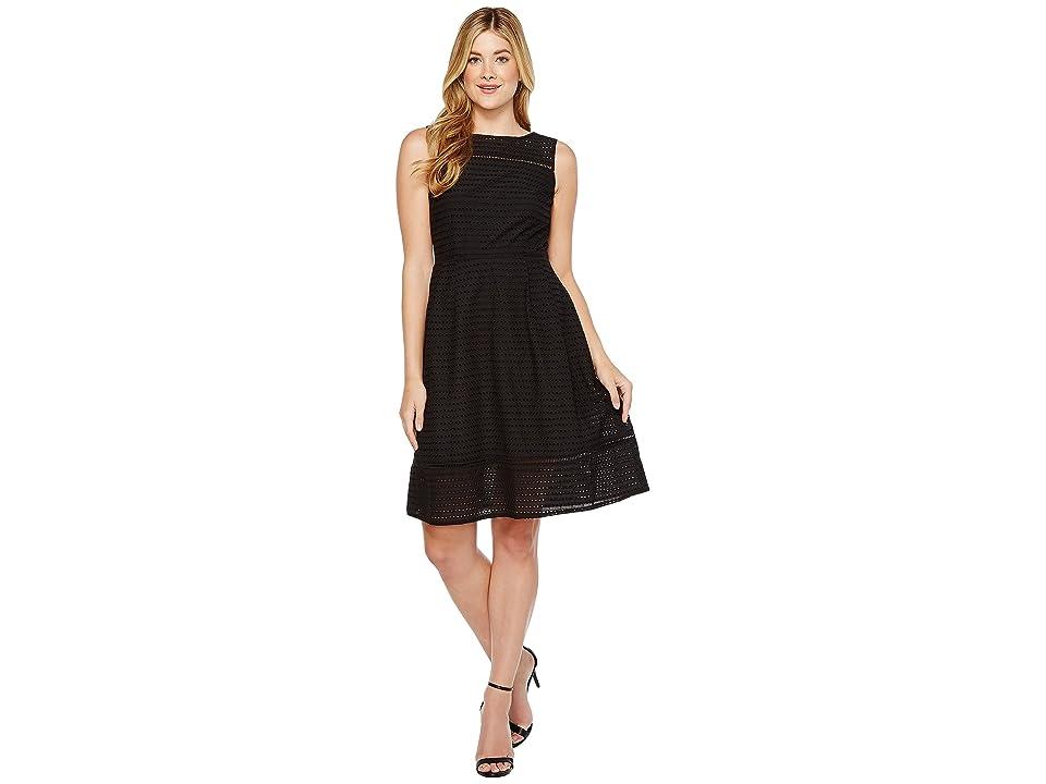 Ellen Tracy Eyelet Midi Dress (Black) Women