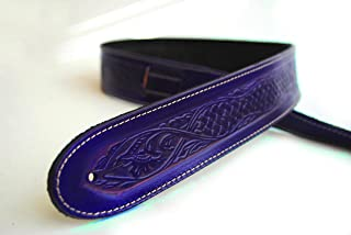 Uk-made Deluxe Texan Leather Guitar Strap - Acoustic Bass + 6 Free Picks (Purple)