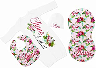 New Baby Girl's Pink Hibiscus Floral Personalized Infant Gown with Hot Pink and Grey Coming Home Outfit