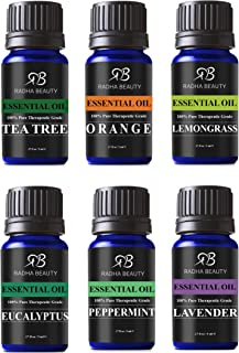 Radha Beauty Aromatherapy Top 6 Essential Oils (Lavender, Tea Tree, Eucalyptus, Lemongrass, Orange, Peppermint) - 100% Nat...