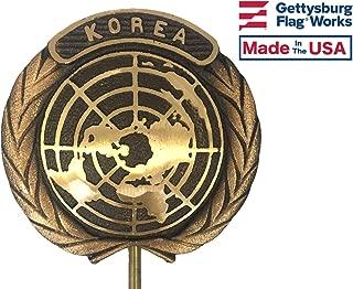 Gettysburg Flag Works Korean War Bronze Grave Marker, Cemetery Memorial Flag Holder, Korea Veteran Plaque, Made In USA