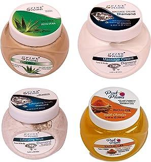PINK PLUMS Glowing Aloevera FacePack, Diamond Massage Cream, Diamond Scrub & Haldi Chandan Facial Gel With Vitamin E COMBO...