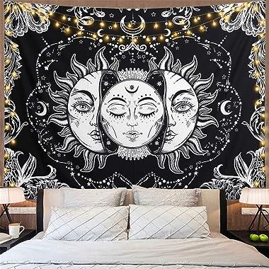 Dremisland Tarot Tapisserie Murale Mandala Indien Bohémien Psychédélique Tapisseries Noir Blanc Lune et Soleil Tenture Murale
