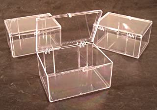Lot of 3 Crystal Clear Hinged Plastic Trading Card Storage Boxes (100-ct) - Made in the U.S.A.