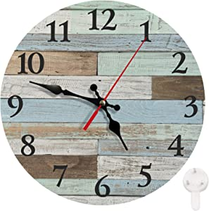 Britimes Round Wall Clock Silent Non-Ticking Clock 10 Inch, Vintage Farmhouse Rustic Home Decor for for Living Room, Kitchen, Bedroom, and Office, Worn Blue