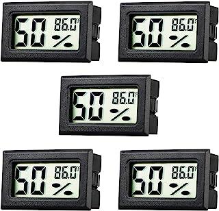 Rojuna 5-pack Mini Thermometer Hygrometer, Small Digital Electronic Temperature Humidity Meters Gauge Indoor LCD Display F...